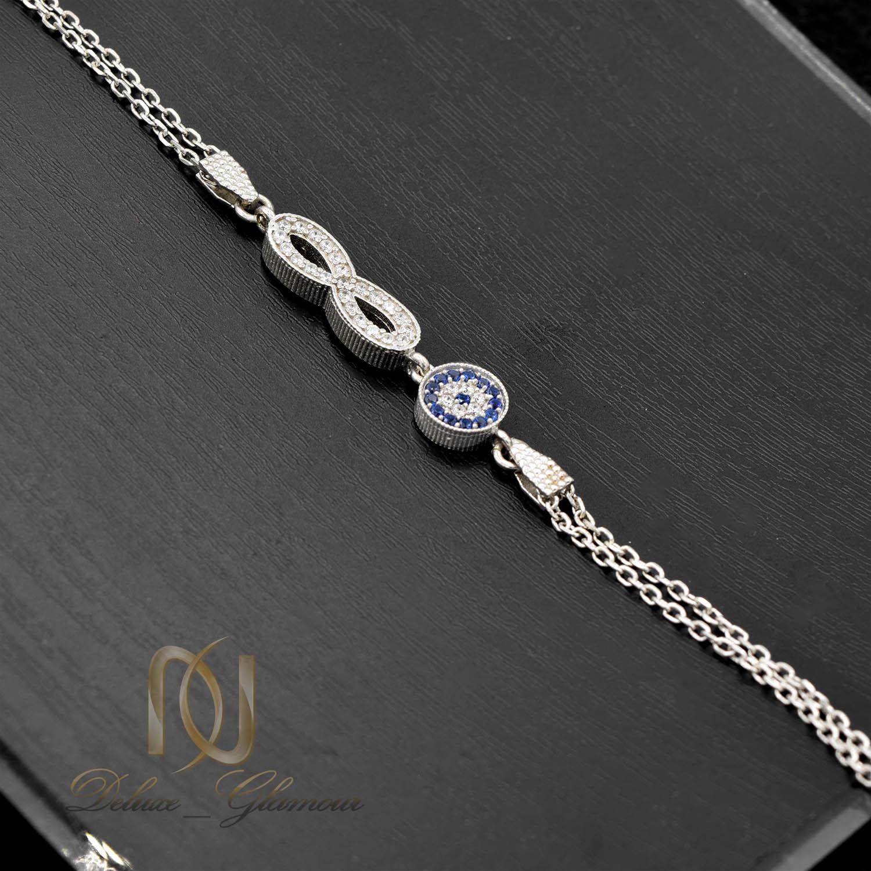 دستبند نقره دخترانه طرح چشم نظر و بی نهایت ds-n476 از نمای مشکی