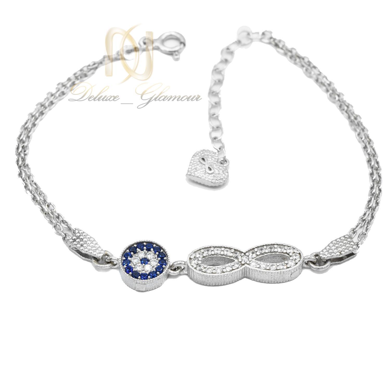 دستبند نقره دخترانه طرح چشم نظر و بی نهایت ds-n476 از نمای سفید