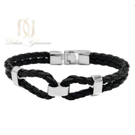 دستبند چرمی مردانه طرح بافت مشکی Ds-n489 - عکس اصلی