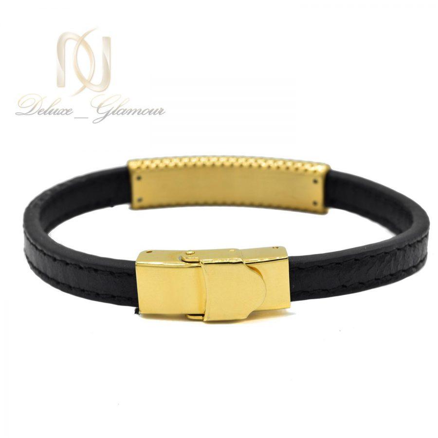 دستبند چرمی مردانه مونت بلانک طلایی Ds-n490- عکس از قفل