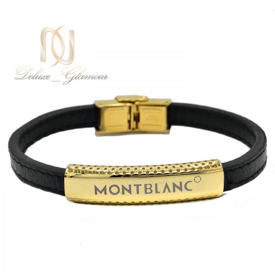 دستبند چرمی مردانه مونت بلانک طلایی Ds-n490 - عکس اصلی