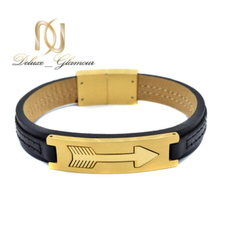 دستبند چرم اسپرت رویه طلایی ds-n487 از نمای سفید