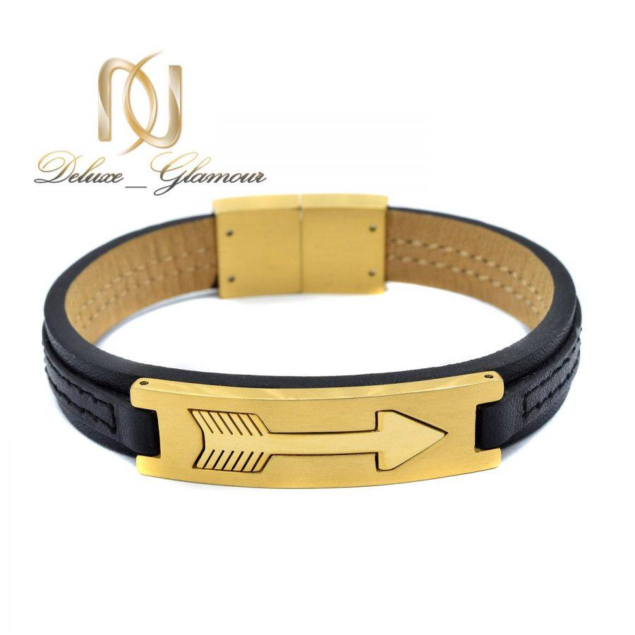 دستبند چرم اسپرت رویه طلایی ds-n487