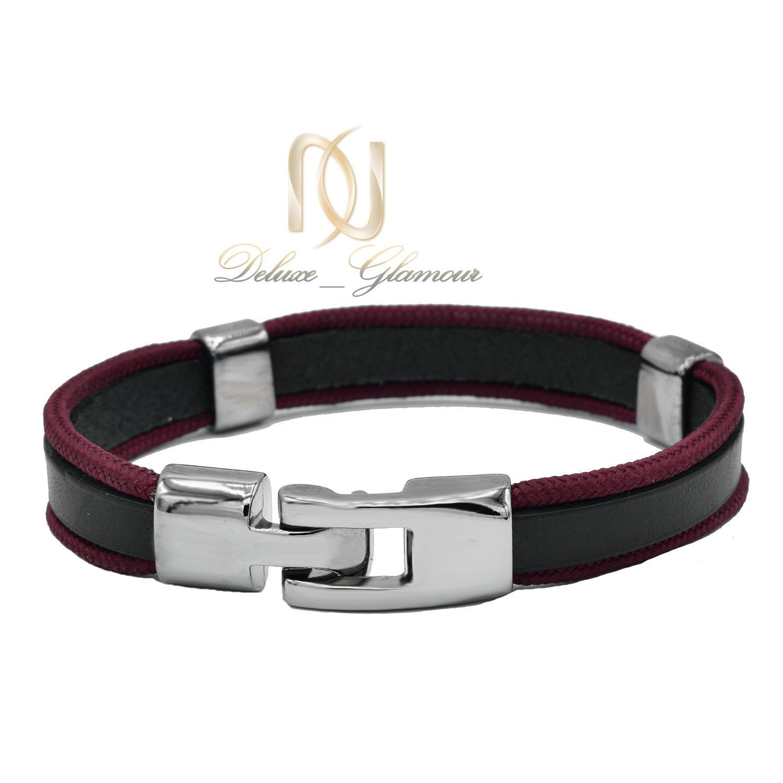 دستبند چرم دخترانه اسپرت قرمز و مشکی ds-n480 از نمای پشت
