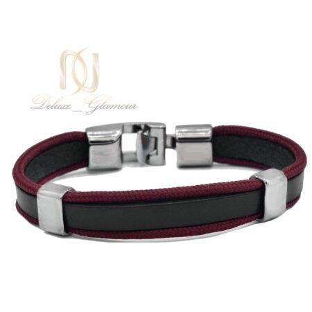 دستبند چرم دخترانه اسپرت قرمز و مشکی ds-n480 از نمای روبرو