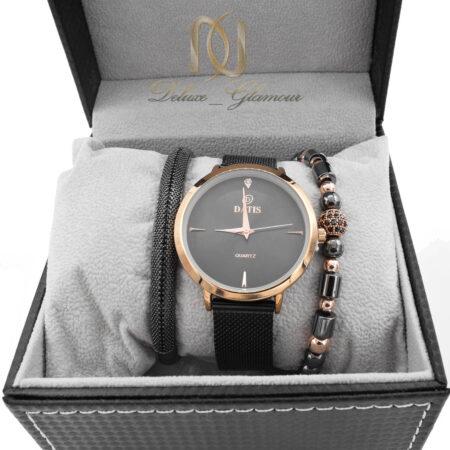 ست ساعت و دستبند زنانه اسپرت مشکی SE-N301 از نمای روبرو