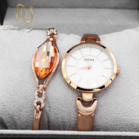 ست ساعت و دستبند زنانه رزگلد جدید se-n300 از نمای روبرو