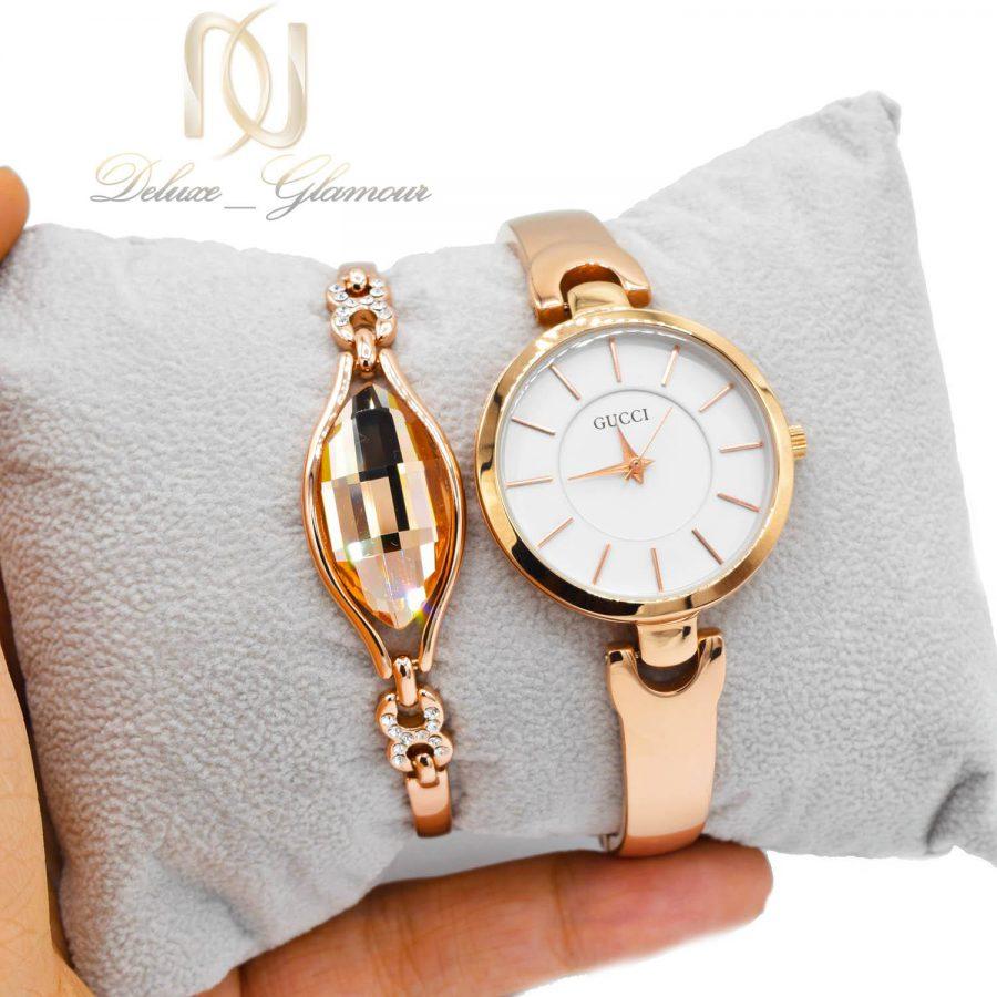 ست ساعت و دستبند زنانه رزگلد جدید se-n300 از نمای روی دست