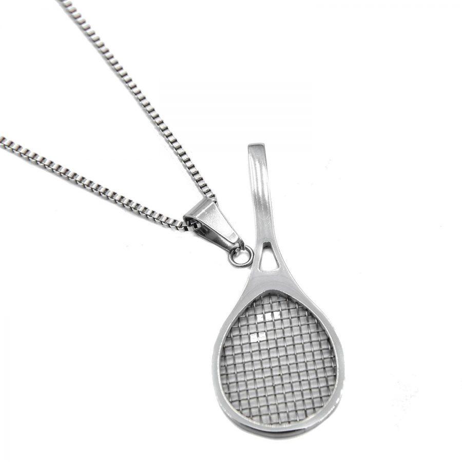 گردنبند استیل راکت تنیس nw-n545 از نمای سفید