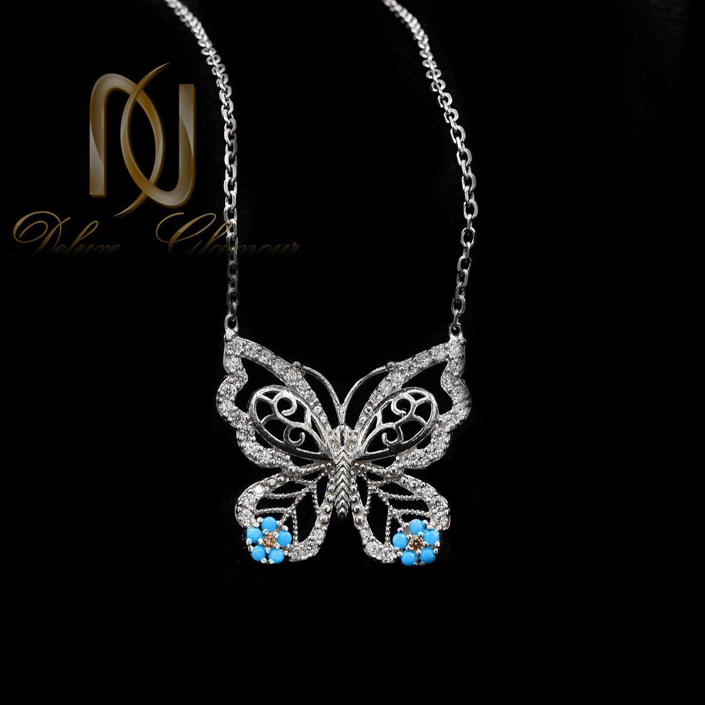 گردنبند دخترانه نقره طرح پروانه ظریف nw-n534 از نمای مشکی