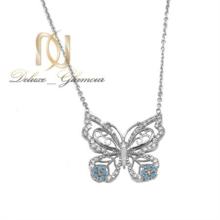 گردنبند دخترانه نقره طرح پروانه ظریف nw-n534 از نمای سفید