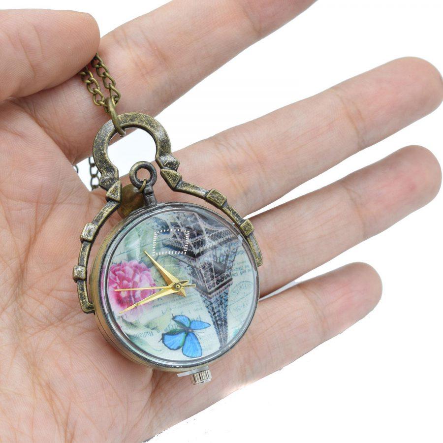 گردنبند رومانتویی دخترانه ساعت بلند nw-n536 از نمای روی دست