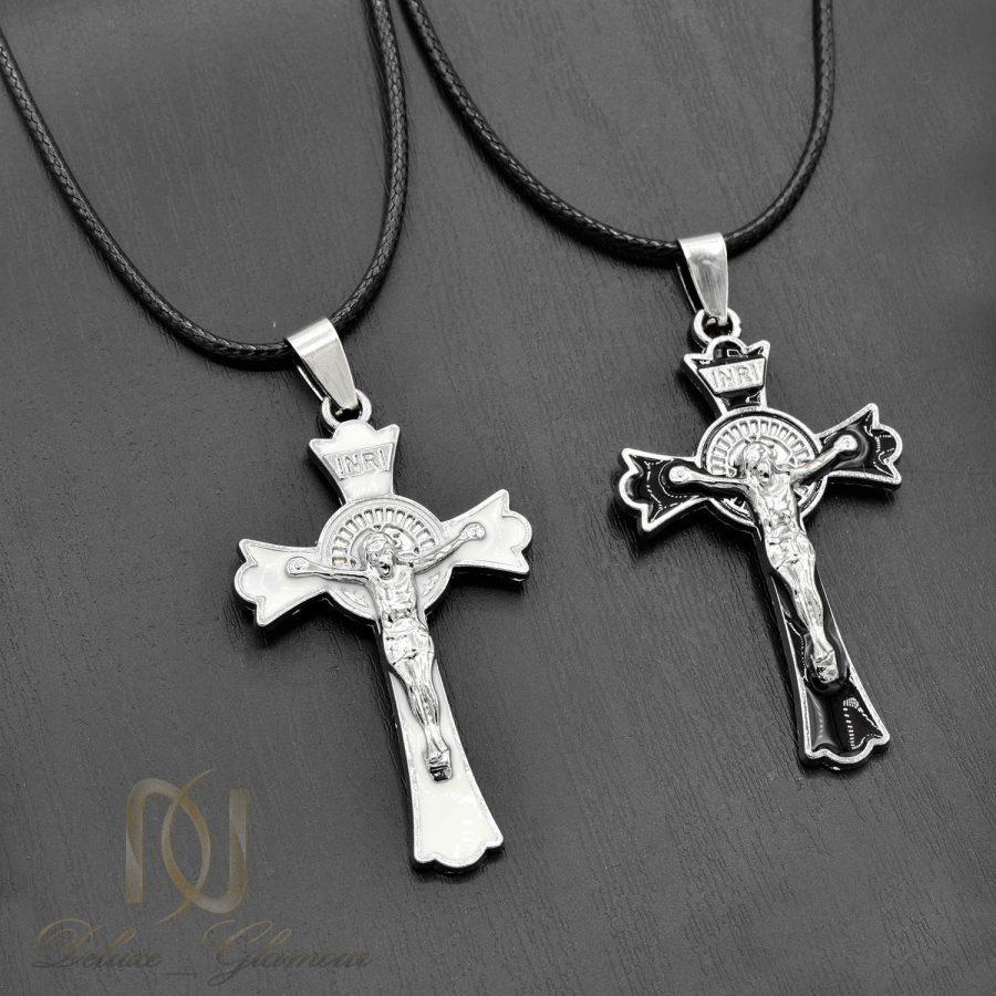 گردنبند ست دخترانه و پسرانه طرح صلیب Nw-n548 - زمینه مشکی