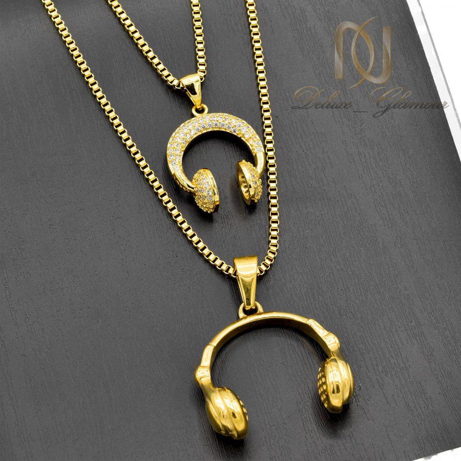 گردنبند ست عاشقانه طرح هدفون استیل طلایی nw-n539 از نمای مشکی