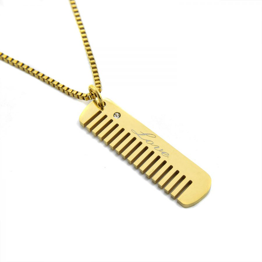 گردنبند شانه استیل طلایی nw-n546 از نمای سفید