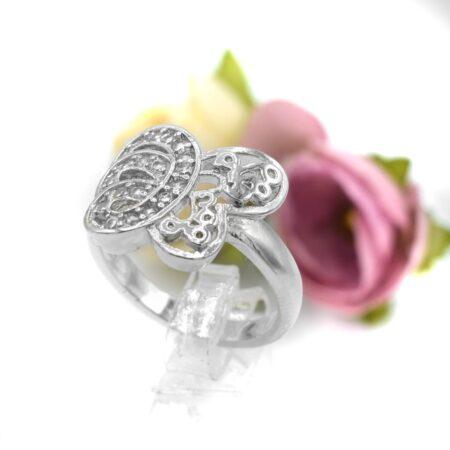 انگشتر دخترانه طرح پروانه rg-n438 از نمای سفید
