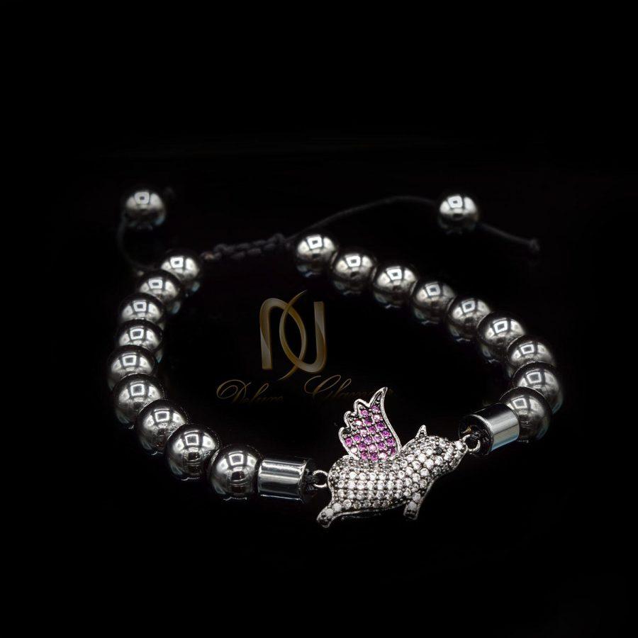 دستبند دخترانه سنگ حدید za-n07 از نمای مشکی