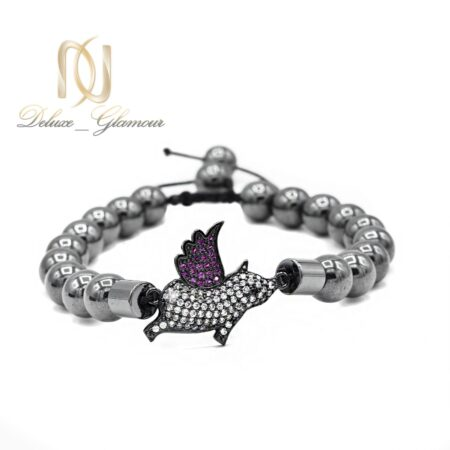 دستبند دخترانه سنگ حدید za-n07 از نمای نزدیک