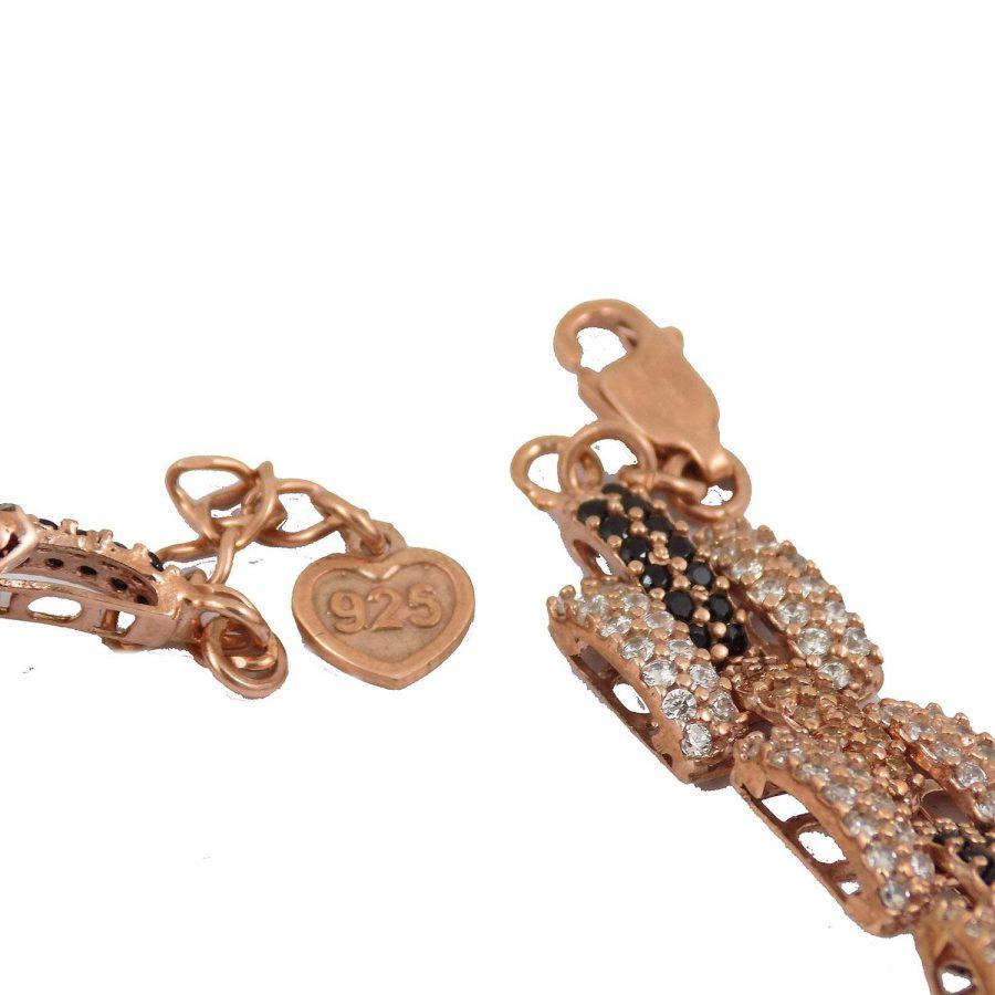 دستبند زنانه نقره رزگلد آجری ma-n105 از نمای پشت