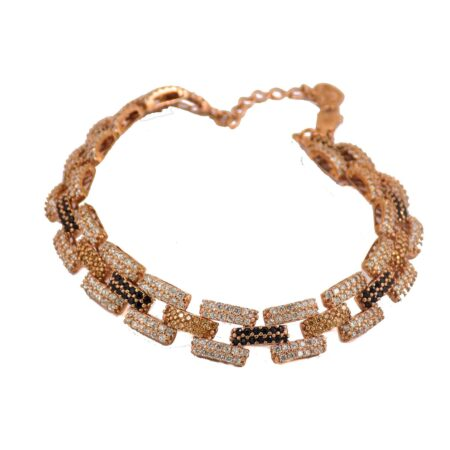 دستبند زنانه نقره رزگلد آجری ma-n105 از نمای سفید