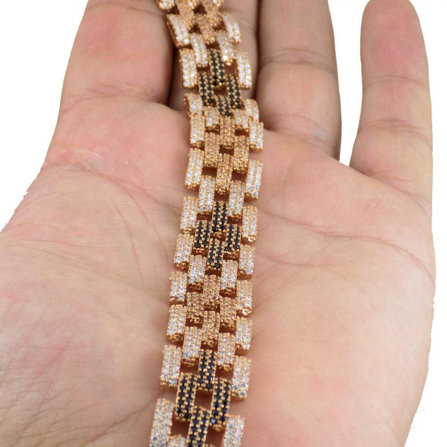 دستبند زنانه نقره رزگلد MA-N103 از نمای روی دست