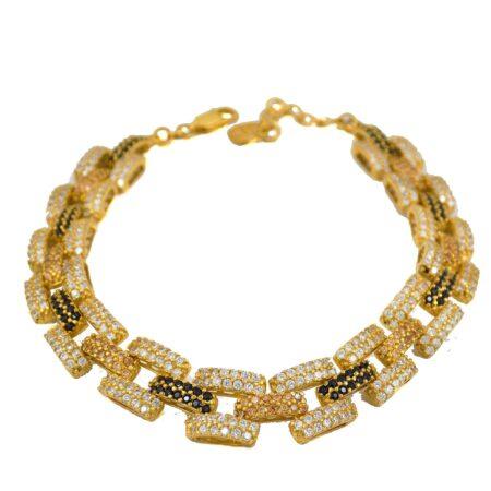 دستبند زنانه نقره طرح طلا ma-n109 از نمای سفید