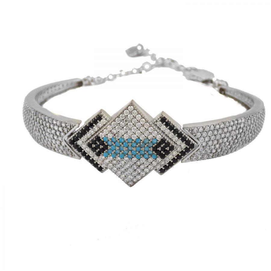 دستبند زنانه نقره پرنگین ma-n115 از نمای روبرو