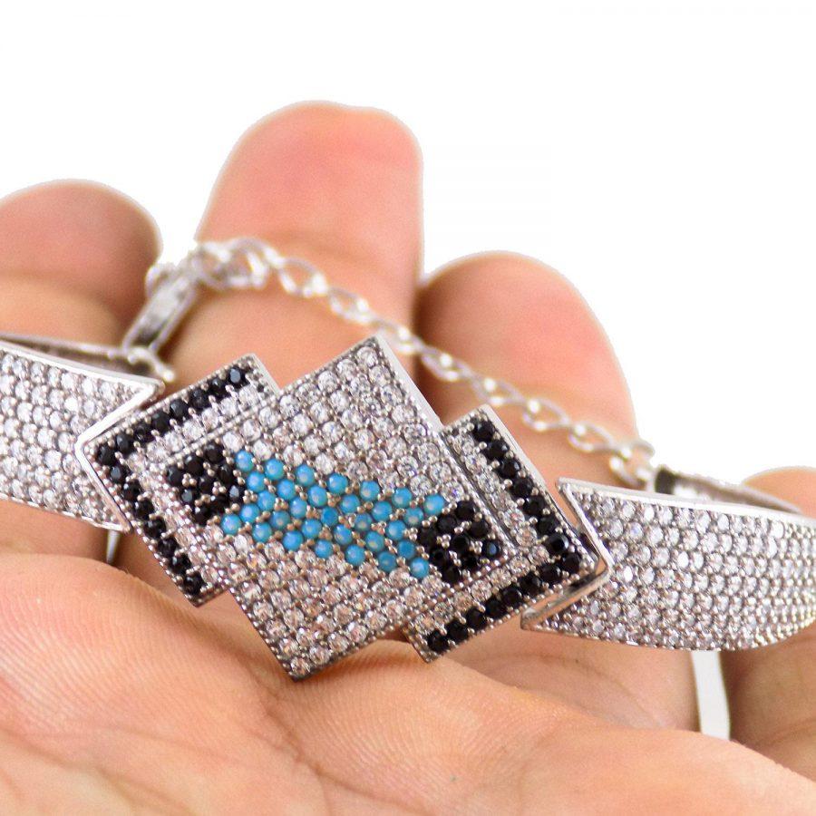 دستبند زنانه نقره پرنگین ma-n115 از نمای نزدیک