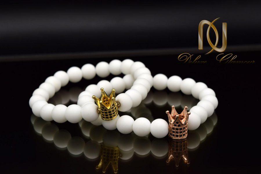 دستبند ست عاشقانه طرح تاج za-n07 از نمای مشکی