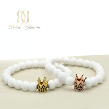 دستبند ست عاشقانه طرح تاج za-n07 از نمای روبرو