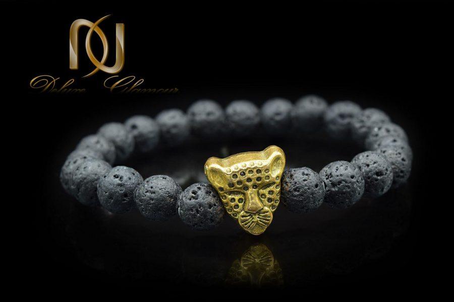 دستبند مردانه سنگ لاوا za-n04 از نمای مشکی