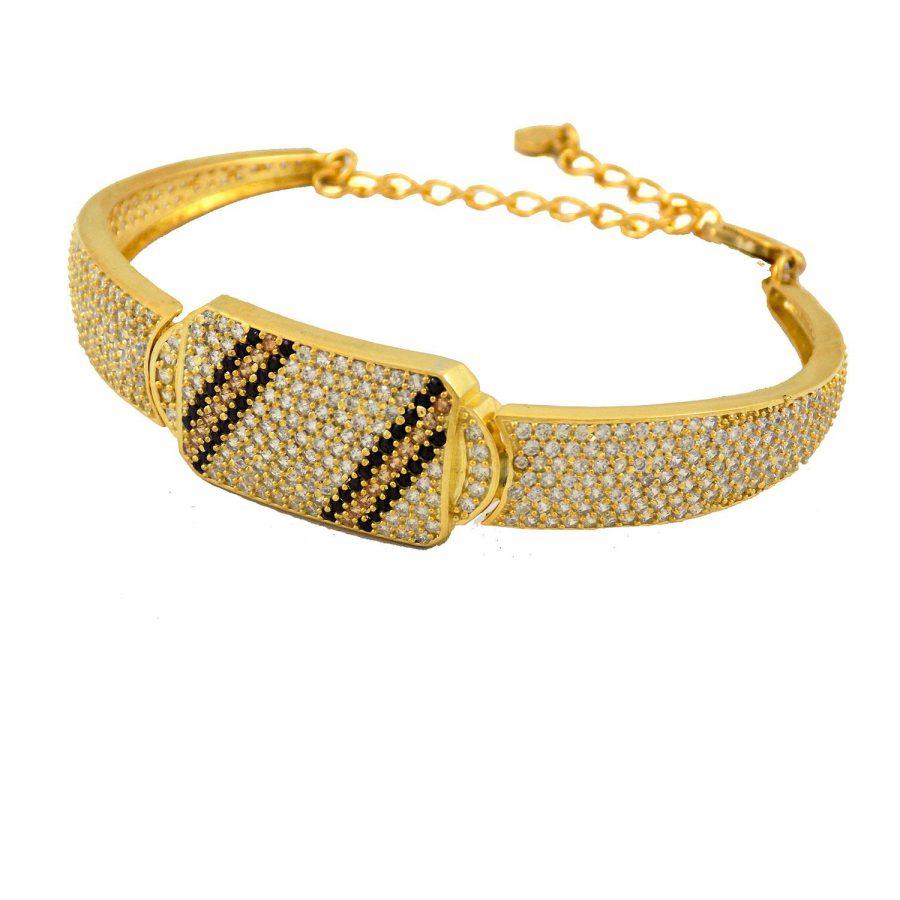 دستبند نقره زنانه طرح طلا ma-n114 از نمای روبرو