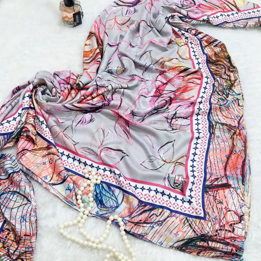 روسری زنانه ابریشمی جدید sr-n336 از نمای بالا