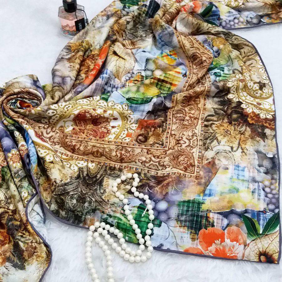 روسری نخی قواره بزرگ زنانه sr-n345 از نمای بالا