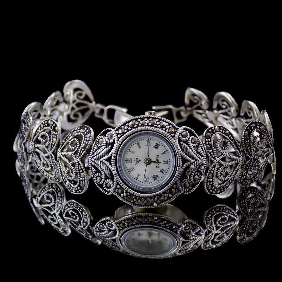 ساعت نقره زنانه سیاه قلم جدید ma-n118 از نمای مشکی
