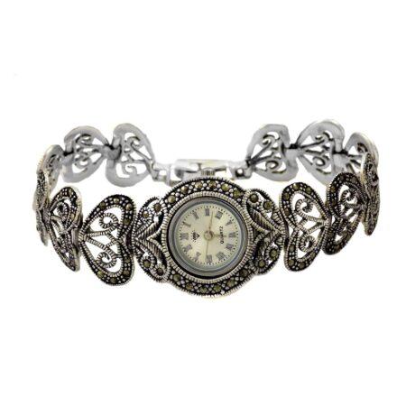 ساعت نقره زنانه سیاه قلم جدید ma-n118 از نمای سفید