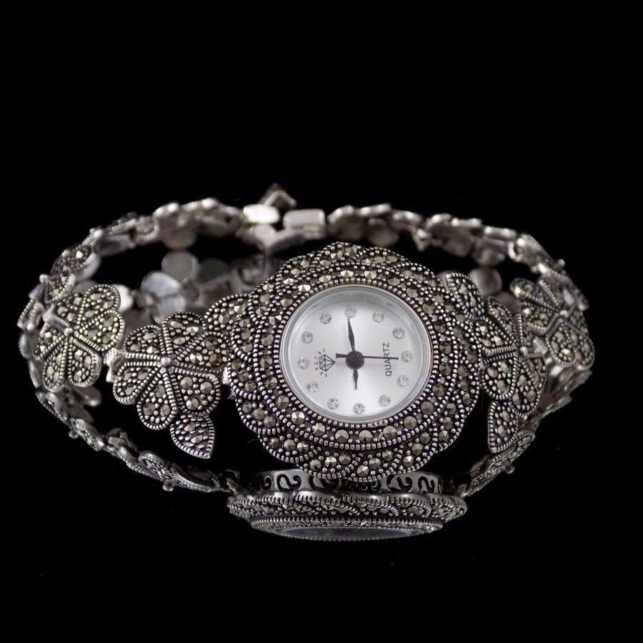 ساعت نقره زنانه سیاه قلم ma-n120 از نمای روبرو