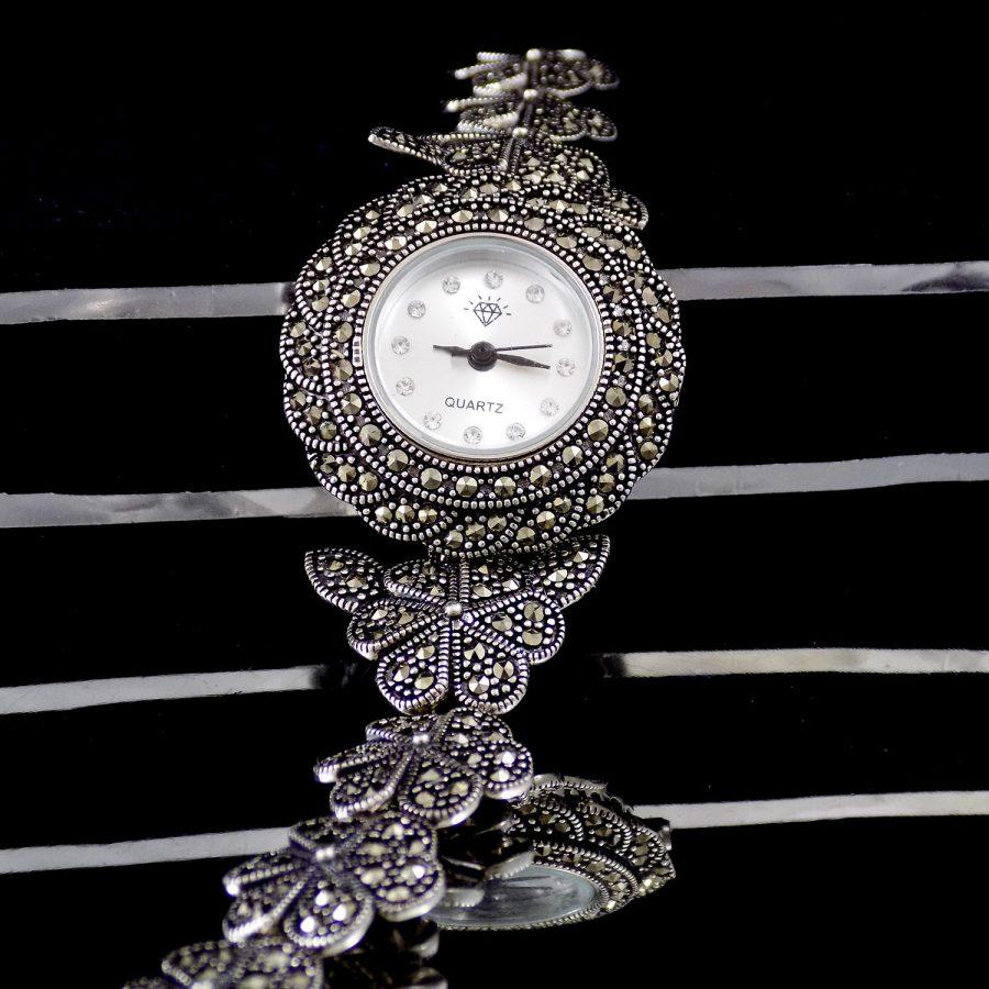ساعت نقره زنانه سیاه قلم ma-n120 از نمای مشکی
