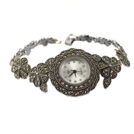 ساعت نقره زنانه سیاه قلم ma-n120 از نمای سفید