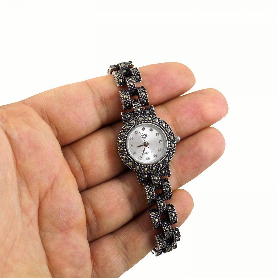 ساعت نقره زنانه طرح رولکس ma-n121 از نمای روی دست
