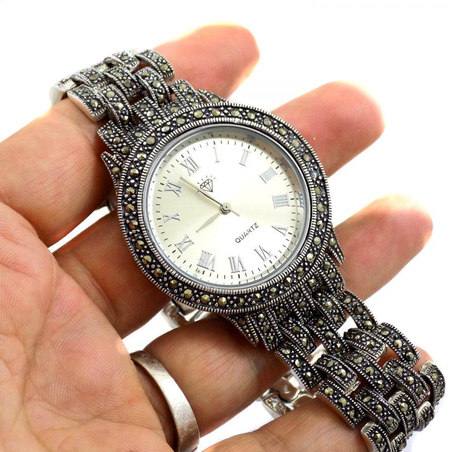 ساعت نقره مردانه سیاه قلم ma-n117 از نمای نزدیک