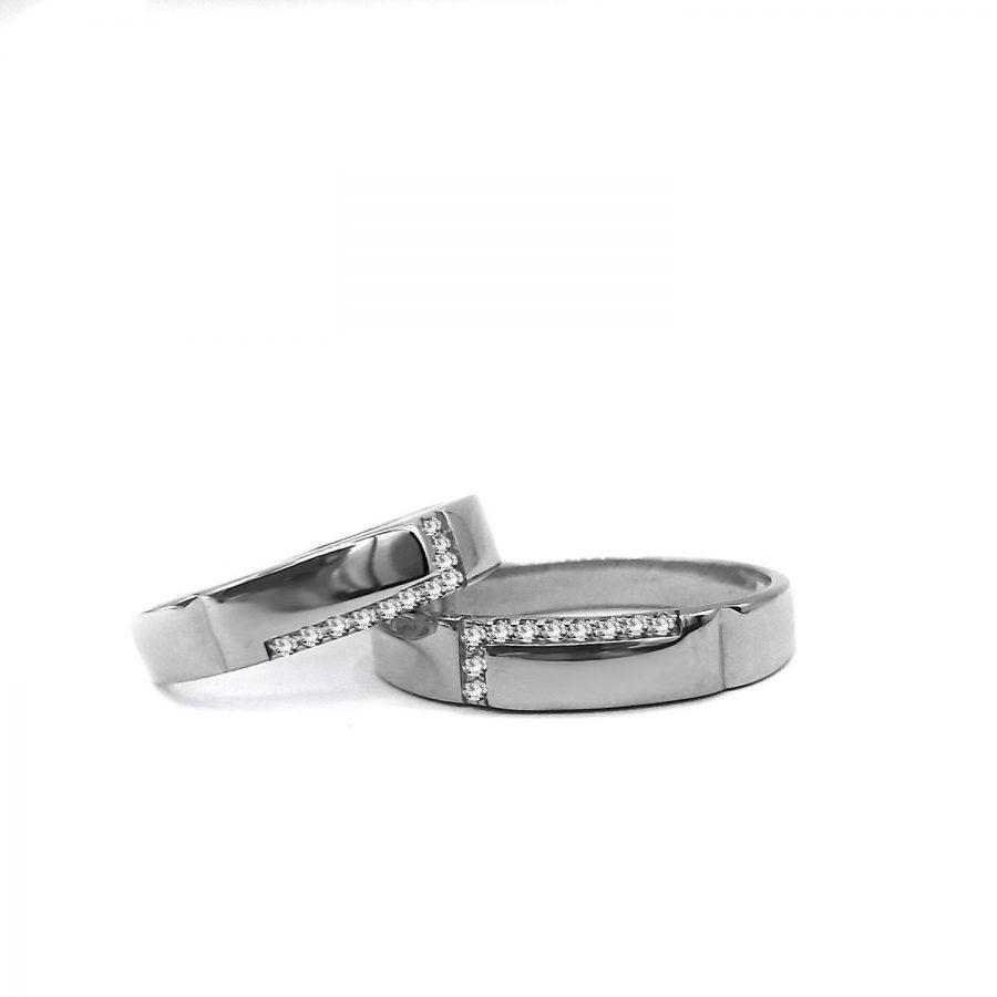 ست حلقه نقره نامزدی rg-n441 از نمای روبرو