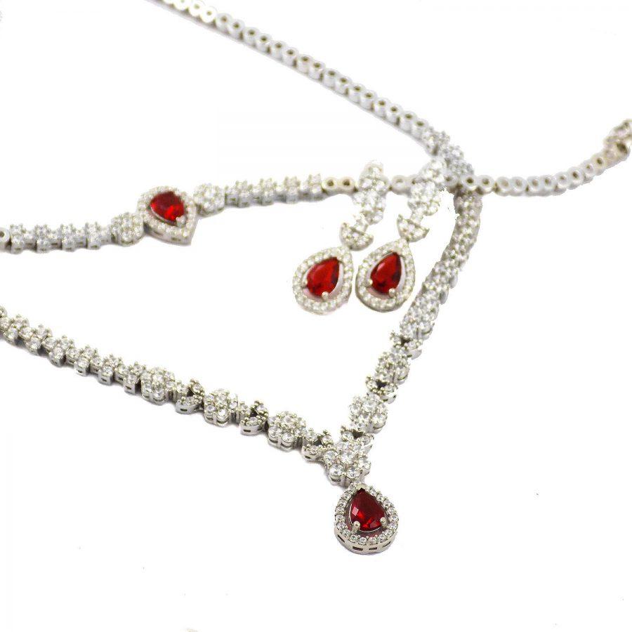 سرویس نقره جواهری نگین قرمز ma-n106 از نمای روبرو