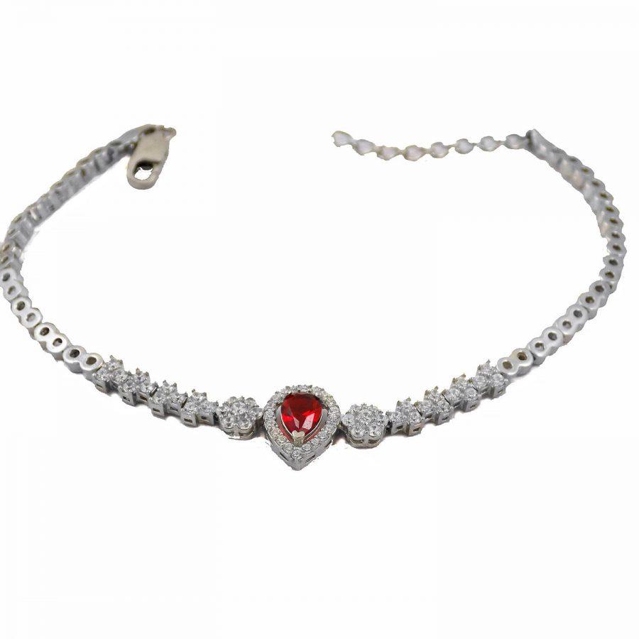 سرویس نقره جواهری نگین قرمز ma-n106 از نمای دستبند