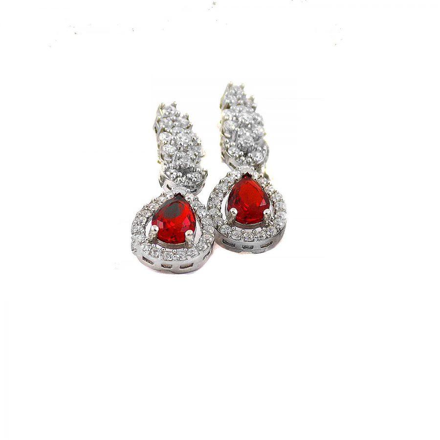 سرویس نقره جواهری نگین قرمز ma-n106 از نمای گوشواره