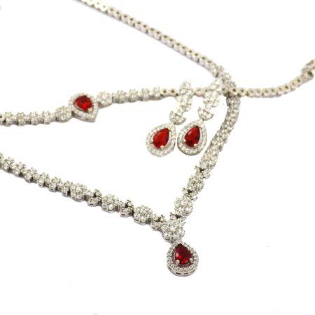سرویس نقره جواهری نگین قرمز ma-n106 از نمای سفید