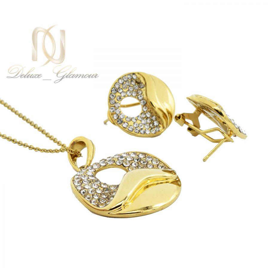 نیم ست زنانه استیل طلایی ns-n466 از نمای پایین