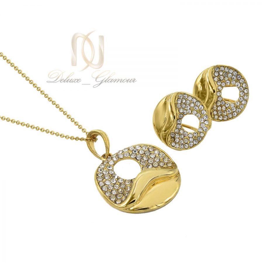 نیم ست زنانه استیل طلایی ns-n466 از نمای سفید