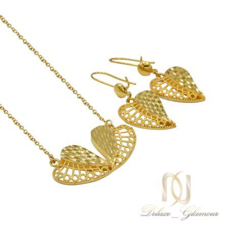 نیم ست زنانه طرح طلا ns-n467 از نمای سفید