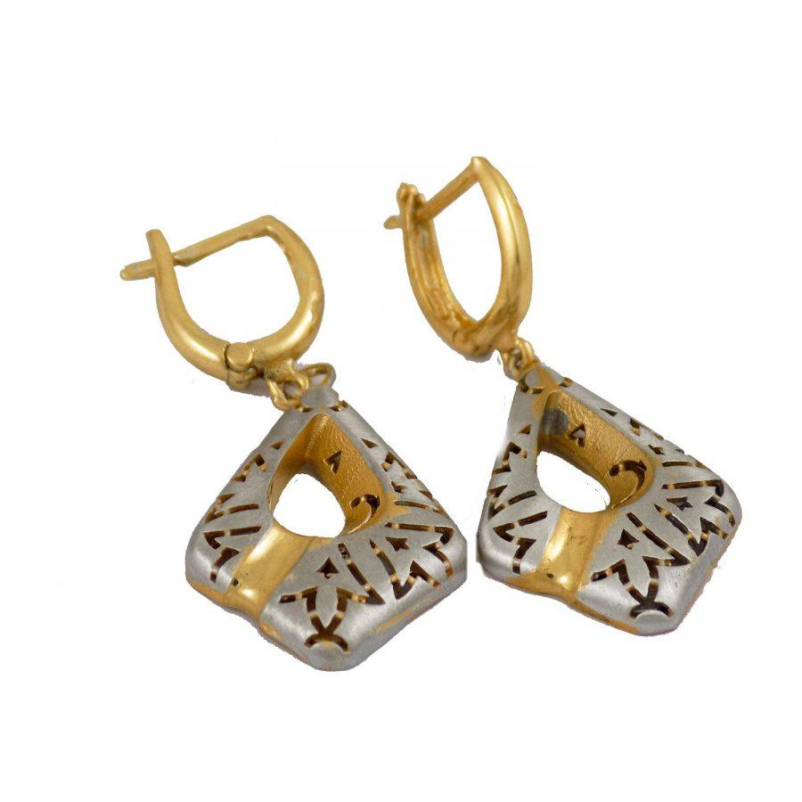 نیم ست زنانه نقره طرح طلا ma-n112 از نمای گوشواره